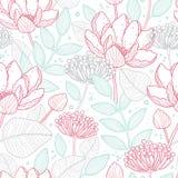 Het vector moderne bloemen naadloze patroon van de lijnkunst vector illustratie