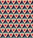 Het vector moderne naadloze kleurrijke meetkundepatroon, 3D driehoeken, kleurt rood blauw, samenvatting Stock Foto