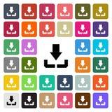 Het vector moderne pictogram van het Download vlakke die ontwerp in knoop wordt geplaatst Royalty-vrije Stock Foto