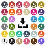 Het vector moderne pictogram van het Download vlakke die ontwerp in knoop wordt geplaatst Stock Fotografie