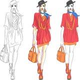 Het vector mooie hoogste model van het maniermeisje in hoed en Royalty-vrije Stock Fotografie