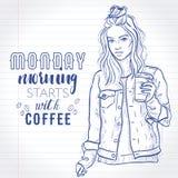 Het vector mooie manier hipster meisje houdt koffiekop Stock Afbeeldingen