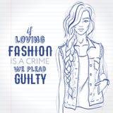Het vector mooie manier hipster meisje kleedde zich in sleeveless denim Royalty-vrije Stock Fotografie
