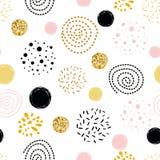 Het vector naadloze abstracte ornament van de patroonstip verfraaide gouden, roze, zwarte hand getrokken cirkelelementen royalty-vrije illustratie