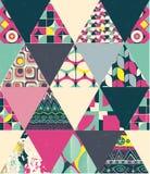 Het vector naadloze geometrische patroon van de lapwerkstijl Stock Afbeeldingen