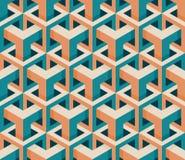 Het vector Naadloze Isometrische Hexagonale Uitstekende Patroon van de Kubusstructuur in Roze en Wintertaling Royalty-vrije Stock Afbeelding