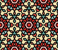 Het vector Naadloze Kleurrijke Blauwe Rode Wit maakte Bloemen Oosterse Hexagonale Mandala Pattern rond Stock Illustratie