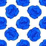 Het vector naadloze patroon met blauw nam toe watercolor Stock Afbeelding