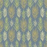 Het vector naadloze patroon met botanisch motief, artistieke botanische illustratie, isoleerde bloemenelementen in herhaalbaar Stock Fotografie