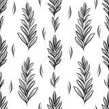 Het vector naadloze patroon met botanisch motief, artistieke botanische illustratie, isoleerde bloemenelementen in herhaalbaar Royalty-vrije Stock Afbeelding