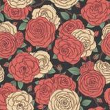 Het vector naadloze patroon met rood en geel nam bloemen en bladeren op zwarte achtergrond toe Bloemenornament van bloesems stock illustratie