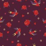 Het vector naadloze patroon met slikt, rozen, harten en sterren Royalty-vrije Stock Foto's