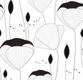 Het vector naadloze patroon, textuur, druk met getrokken hand bloeit en knoppen op de transparante achtergrond vector illustratie