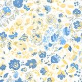 Het vector naadloze patroon van de de zomerkrabbel Bloemen achtergrond Stock Foto