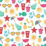 Het vector naadloze patroon van de de zomertijd met kleurrijke strandelementen vector illustratie