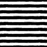 Het vector naadloze patroon van de waterverfstreep grunge Abstracte zwarte Stock Afbeelding