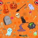 Het vector naadloze patroon van Halloween in beeldverhaalstijl royalty-vrije stock afbeelding