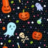 Het vector naadloze patroon van Halloween in beeldverhaalstijl royalty-vrije stock fotografie