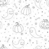 Het vector naadloze patroon van Halloween met pompoenen, de spoken met enge gezichten, de beenderen, de schedels en het suikergoe royalty-vrije illustratie
