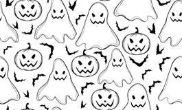 Het vector naadloze patroon van Halloween met spoken en knuppels royalty-vrije illustratie