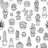 Het vector naadloze patroon van hand-drawn krabbelscactussen en succulen Royalty-vrije Stock Foto