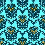 Het vector Naadloze Patroon van het Bloemdamast Stock Fotografie