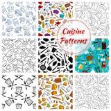Het vector naadloze patroon van het keukenkeukengerei Stock Foto's
