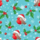 Het vector naadloze patroon van het Kerstmisbeeldverhaal met traditionele decoratie, Kerstboom vertakt zich en leuke goudvinken stock fotografie