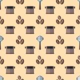 Het vector naadloze patroon van koffiebarista stock illustratie
