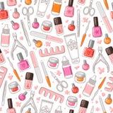 Het vector naadloze patroon van manicurehulpmiddelen Stock Afbeelding