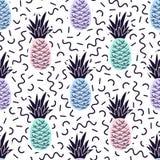 Het vector naadloze patroon van Memphis met ananassen royalty-vrije illustratie