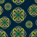 Het vector naadloze patroon van pauwveren Stock Afbeelding