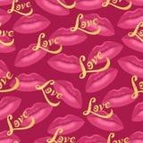 Het vector naadloze vectorpatroon van lippenkussen met gouden hand getrokken brievenliefde Royalty-vrije Stock Afbeeldingen