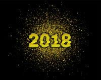 Het vector 2018 Nieuwjaar met goud schittert Stock Foto