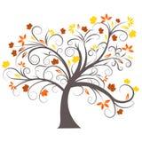 Het vector ontwerp van de de herfstboom Stock Afbeeldingen