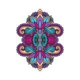 Het vector oosterse etnische ornament, zentangled hennatatoegering, gevormd Indisch Paisley Multicolored hand getrokken illustrat Royalty-vrije Stock Foto's