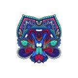 Het vector oosterse etnische ornament, zentangled hennatatoegering, gevormd Indisch Paisley Multicolored hand getrokken illustrat Stock Fotografie