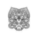 Het vector oosterse etnische ornament, zentangled hennatatoegering, gevormd Indisch Paisley voor volwassen antispannings kleurend Stock Foto's