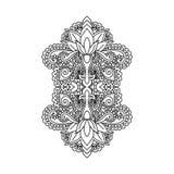 Het vector oosterse etnische ornament, zentangled hennatatoegering, gevormd Indisch Paisley voor volwassen antispannings kleurend Stock Afbeeldingen
