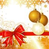 Het vector Ornament van Kerstmis met Boog en Sneeuwvlokken Royalty-vrije Stock Fotografie