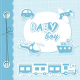 Het vector plakboek van de babyjongen Stock Fotografie
