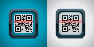Het vector QR pictogram van de codescanner