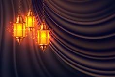 Het vector ramadan realistische gordijn van de kareemlantaarn vector illustratie