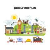 Het vector reizende concept van Groot-Brittannië en van Londen Stock Afbeeldingen