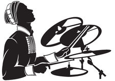 Het vector speel de trommel van de imagThemusicus plaatsen royalty-vrije illustratie