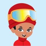 Het vector toestel van de jongens wearign ski Stock Foto