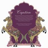 Het vector traditionele ontwerp/het embleem van het paardschild Stock Afbeelding