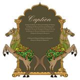 Het vector traditionele ontwerp/het embleem van het paardschild Stock Fotografie