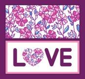 Het vector trillende kader van de de liefdetekst van gebiedsbloemen Royalty-vrije Stock Afbeeldingen