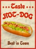 Het vector Uitstekende concept van de Hotdogaffiche Royalty-vrije Stock Afbeelding